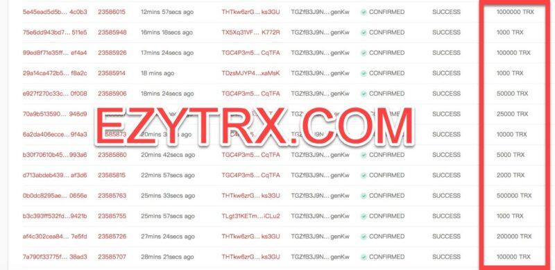 EZYTRX.COM 1000000 TRON TRX CRYPTOCURRENCY