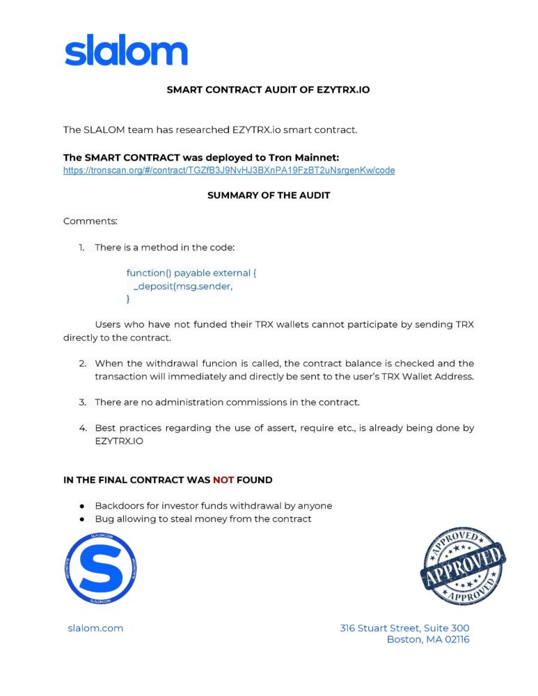 EZYTRX Audit Report Conclusion